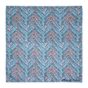 Light Blue Tile Print Silk Pocket Square
