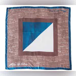 Brown, Blue and White Cars and Comb Print Silk Scarf