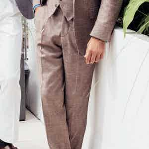 Brown Wool Puppytooth Trousers