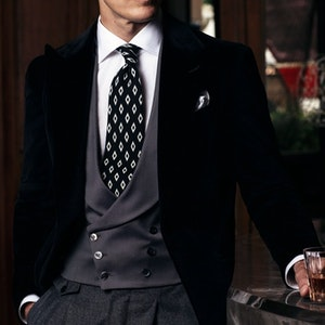 Grey Wool and Silk Textured Double-Breasted Waistcoat