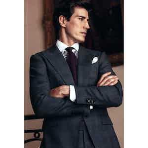 Grey Wool Glen Check Peak Lapel Single-Breasted Jacket