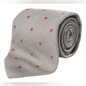 Grey and Red Floral Silk and Cotton Tie