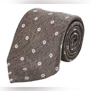 Brown, White and Blue Floral Silk Tie