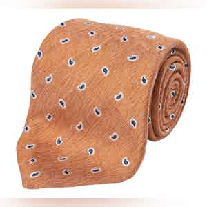 Orange and Blue Paisley Silk and Linen Tie