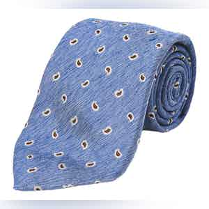Light Blue and Brown Paisley Silk and Linen Tie