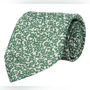 White and Green Floral Silk Tie