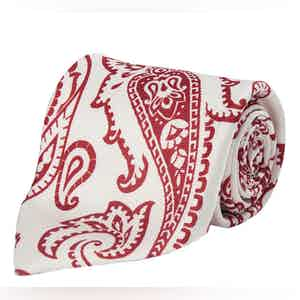 White and Red Paisley Silk Tie