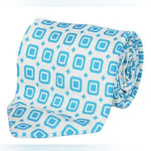White and Turquoise Geometric Silk Tie