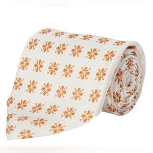 White and Orange Floral Silk Tie