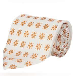 White and Orange Floral Silk Tie