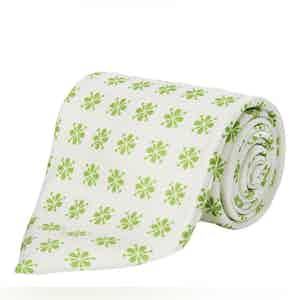 White and Light Green Floral Silk Tie