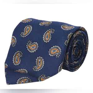 Blue and Yellow Paisley Silk Tie