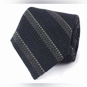 Navy, Grey and White Textured Reppe Stripe Wool and Cotton Tie