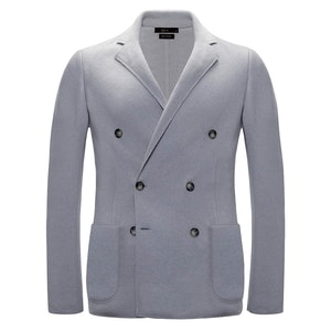 Grey Double-Breasted Cashmere Jacket