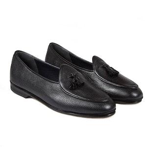 Black Marphy Deerskin Leather Tassel Loafers