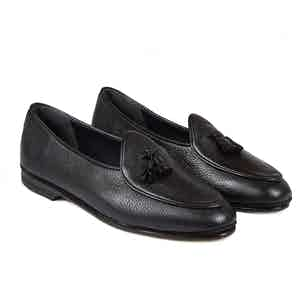 Black Marphy Deerskin Leather Tassel Loafers