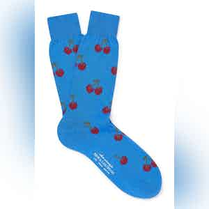 Blue Cotton Mid Calf Cherry Socks