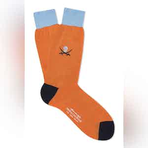 Orange Cotton Mid Calf Skull & Sabre Socks