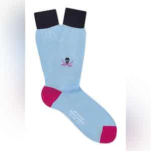 Pale Blue Cotton Mid Calf Skull & Sabre Socks