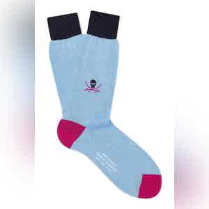 Pale Blue Cotton Mid Calf Skull & Sabre Socks