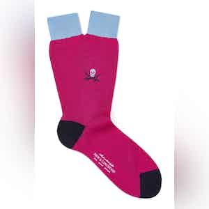 Pink Cotton Mid Calf Skull & Sabre Socks