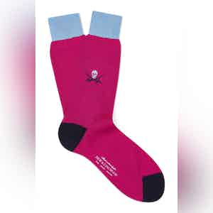 Pink Cotton Mid Calf Skull & Sabre Socks
