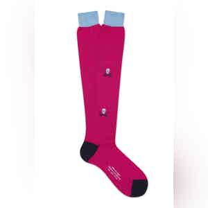 Pink Cotton Long Skull & Sabre Socks