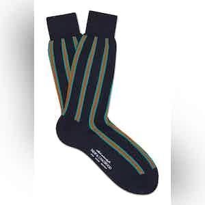 Navy Cotton Mid Calf Vertical Stripe Socks
