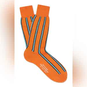 Orange Cotton Mid Calf Vertical Stripe Socks