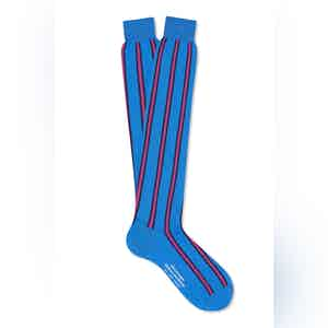 Blue Cotton Long Verticle Stripe Socks