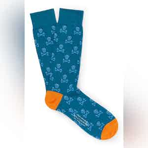 Teal Cotton Mid Calf Skull & Crossbones Socks