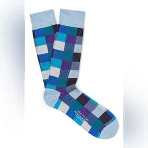 Blue Cotton Mid Calf Squares Socks
