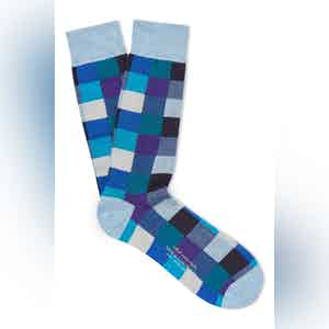 Blue Cotton Mid Calf Squares Socks