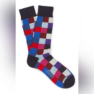 Navy Cotton Mid Calf Squares Socks