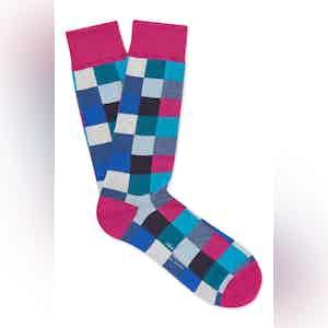 Pink Cotton Mid Calf Squares Socks