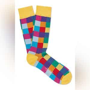 Yellow Cotton Mid Calf Squares Socks