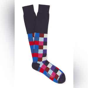 Navy Cotton Long Squares Socks