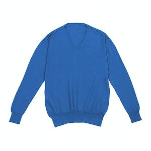 Turquoise Long Sleeve V-neck Cashmere Sweater