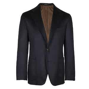 Navy Herringbone Single-Breasted Jacket