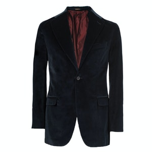 Navy Velvet Cotton and Silk Jacket