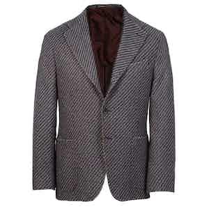 Navy and Burgundy Herringbone Cashmere Single-Breasted Jacket