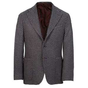Navy and Burgundy Herringbone Cashmere Single-Breasted Jacket