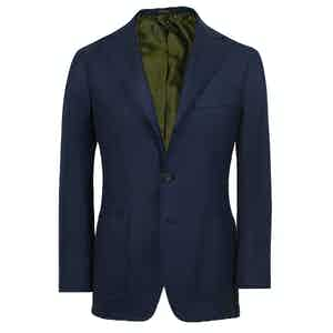 Navy Cashmere Single-Breasted Jacket