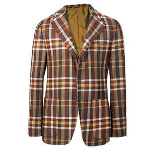 Brown Check Cashmere Single-Breasted Jacket