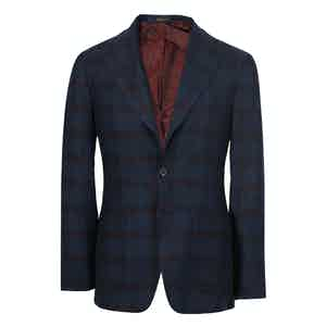 Navy and Burgundy Glen Check Cashmere Single-Breasted Jacket