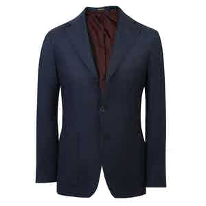 Navy Three Button Single-Breasted Cashmere Jacket