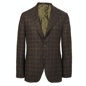 Brown and Green Check Cashmere Single-Breasted Jacket