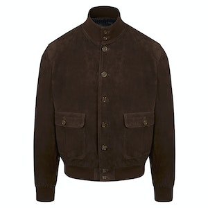Chocolate Brown Suede Down Valstarino A1 Bomber  Jacket