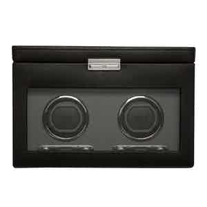 Black Vegan Leather Viceroy Double Watch Winder with Storage