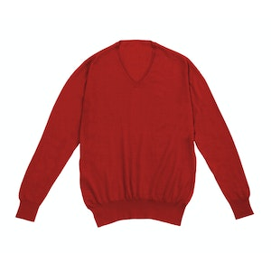 Red Long Sleeve V-neck Cashmere Sweater